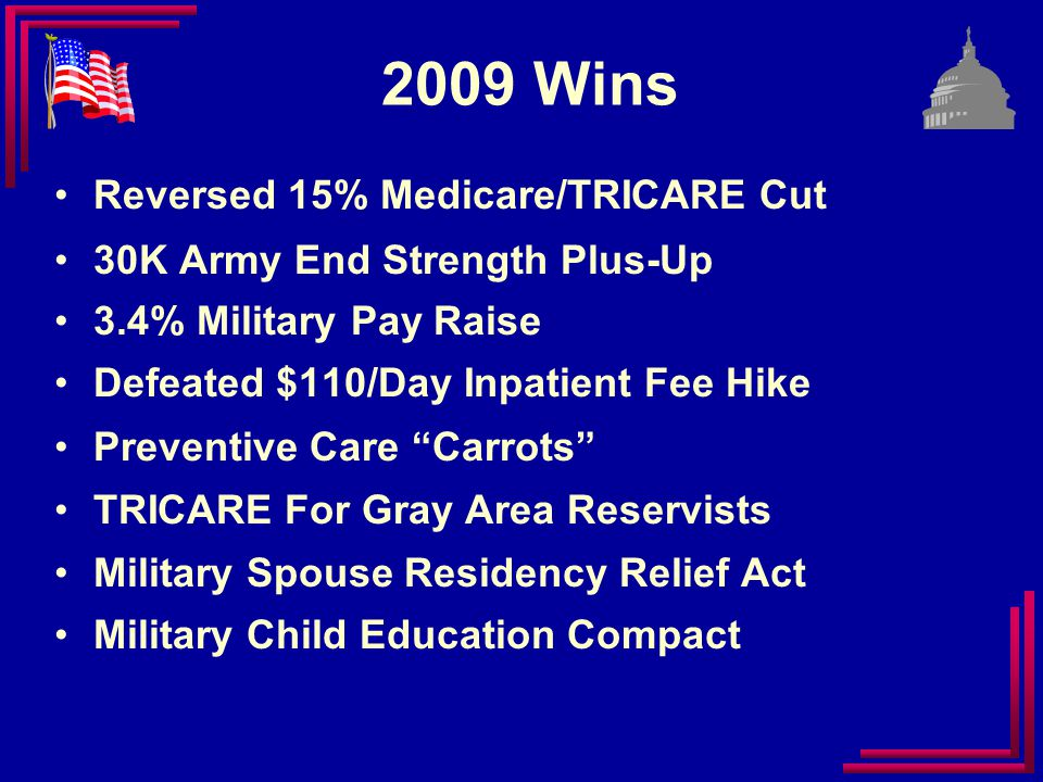 2010 Top Goals Minimize Health Cost-Shifting More Concurrent Receipt Progress SBP-DIC Offset Match End Strengths to Missions Guard/Reserve Retirement / TAP Medicare/TRICARE Access/Funding Family Support Programs/Funding Seamless DoD/VA Transition