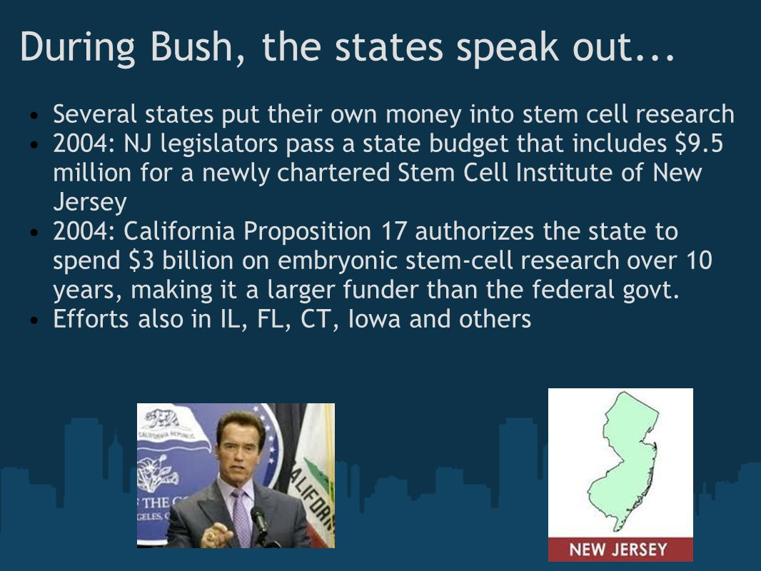During Bush, the states speak out... Several states put their own money into stem cell research 2004: NJ legislators pass a state budget that includes