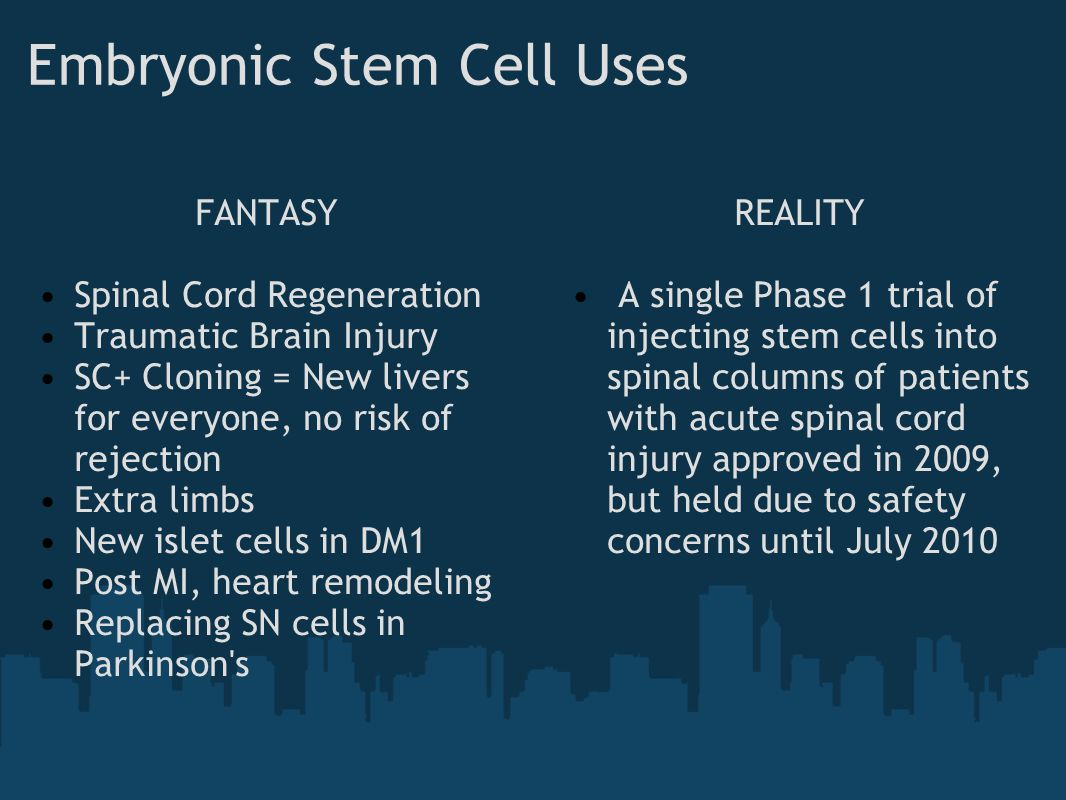 Embryonic Stem Cell Uses FANTASY Spinal Cord Regeneration Traumatic Brain Injury SC+ Cloning = New livers for everyone, no risk of rejection Extra lim