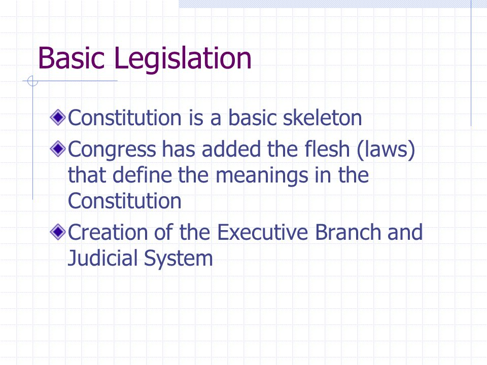 Basic Legislation Constitution is a basic skeleton Congress has added the flesh (laws) that define the meanings in the Constitution Creation of the Ex