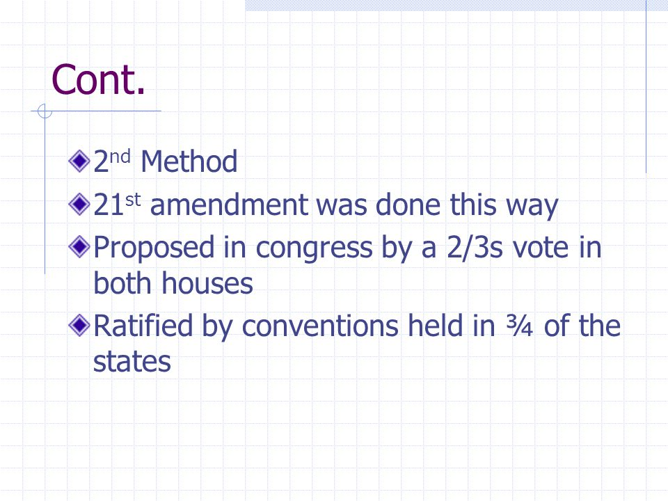 Cont. 2 nd Method 21 st amendment was done this way Proposed in congress by a 2/3s vote in both houses Ratified by conventions held in ¾ of the states