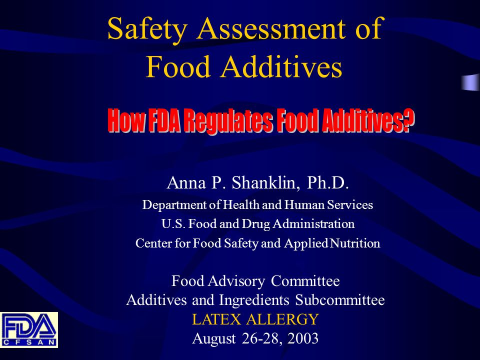 Food Drug & Cosmetic Act (As amended, 1958, 1997) Defines food additive w/GRAS exemption Requires premarket approval of new uses of food additives Establishes the standard of review Establishes the standard of safety Establishes formal rulemaking procedures -----As amended 1997(FDAMA)----- Defines food contact substance (FCS) Establishes a premarket notification program for FCSs