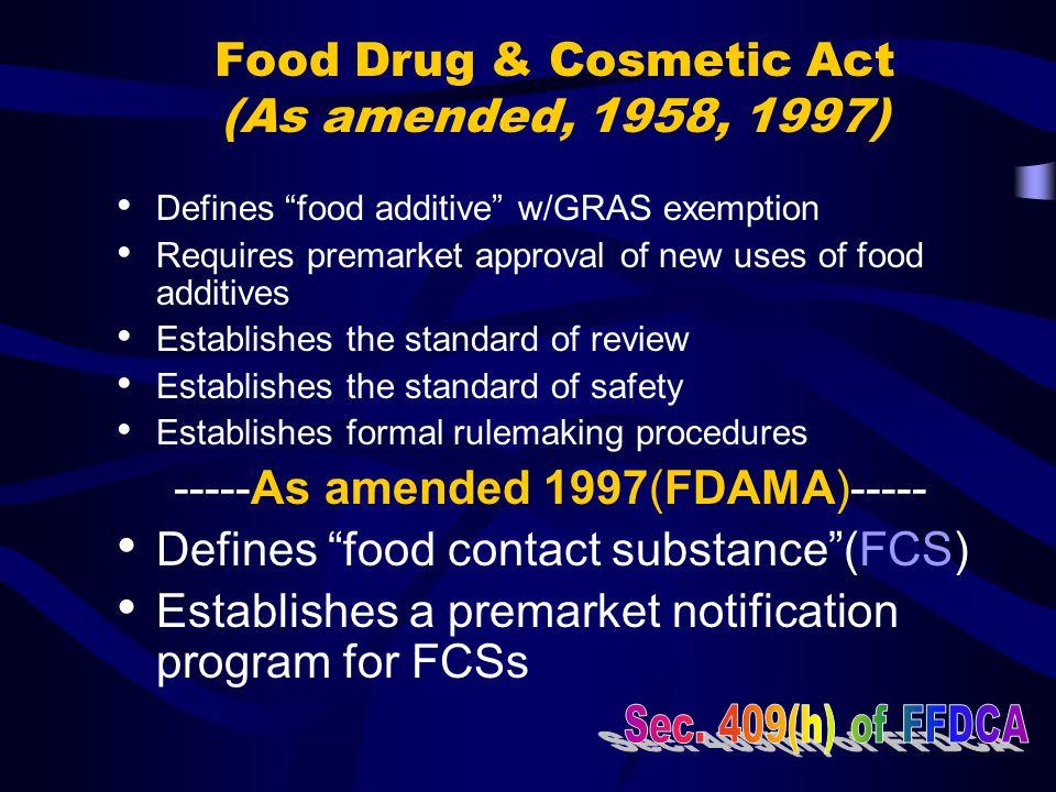 Food Additive Regulations 21 CFR Parts 170-189 General Provisions170 & 171 Direct Food Additive Regulations172 & 173 Indirect Food Additive Regulation