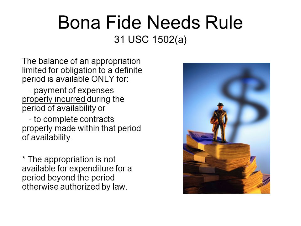 Bona Fide Needs Rule 31 USC 1502(a) The balance of an appropriation limited for obligation to a definite period is available ONLY for: - payment of ex