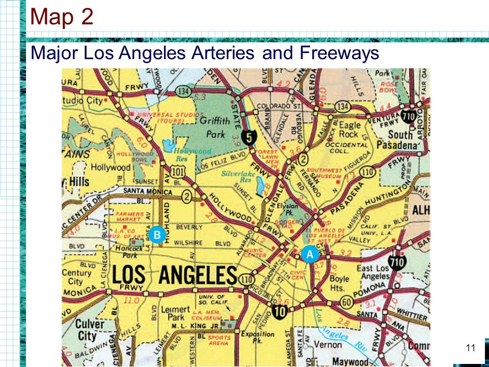 Major Los Angeles Arteries and Freeways Map 2 11