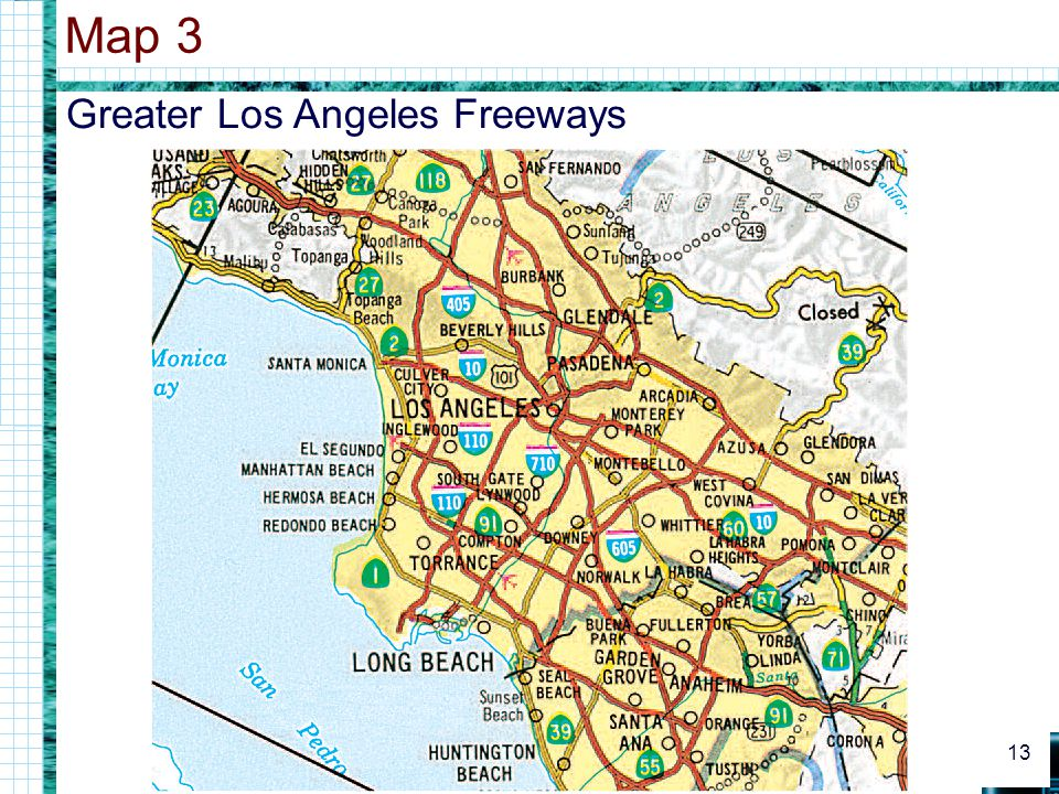 Greater Los Angeles Freeways Map 3 13