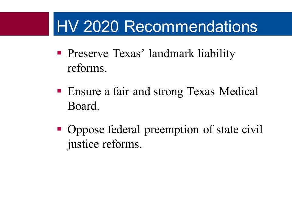  Preserve Texas' landmark liability reforms.  Ensure a fair and strong Texas Medical Board.