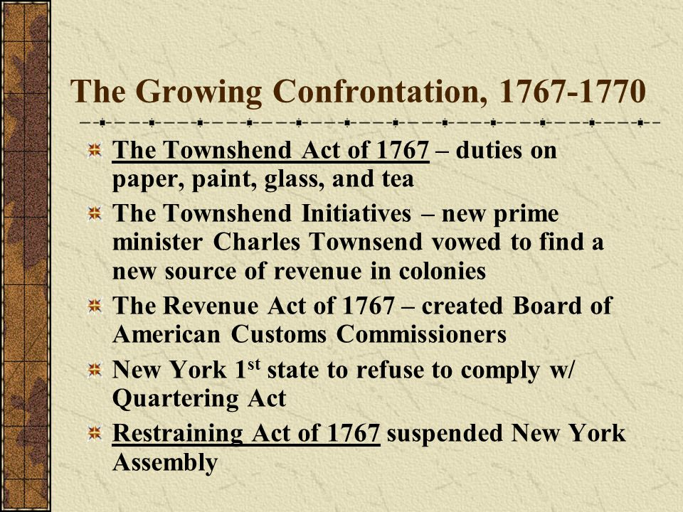 The Growing Confrontation, 1767-1770 The Townshend Act of 1767 – duties on paper, paint, glass, and tea The Townshend Initiatives – new prime minister