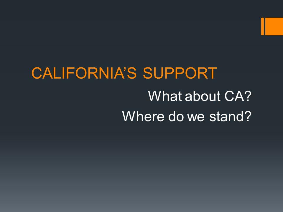 CALIFORNIA'S SUPPORT What about CA Where do we stand