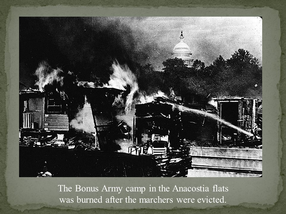 The Bonus Army camp in the Anacostia flats was burned after the marchers were evicted.