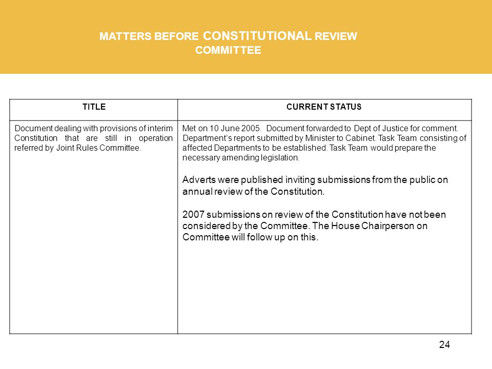 24 MATTERS BEFORE CONSTITUTIONAL REVIEW COMMITTEE TITLECURRENT STATUS Document dealing with provisions of interim Constitution that are still in operation referred by Joint Rules Committee.