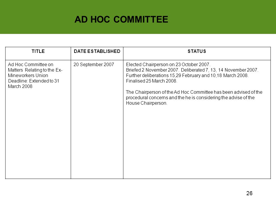 26 AD HOC COMMITTEE TITLEDATE ESTABLISHEDSTATUS Ad Hoc Committee on Matters Relating to the Ex- Mineworkers Union Deadline: Extended to 31 March 2008 20 September 2007Elected Chairperson on 23 October 2007.
