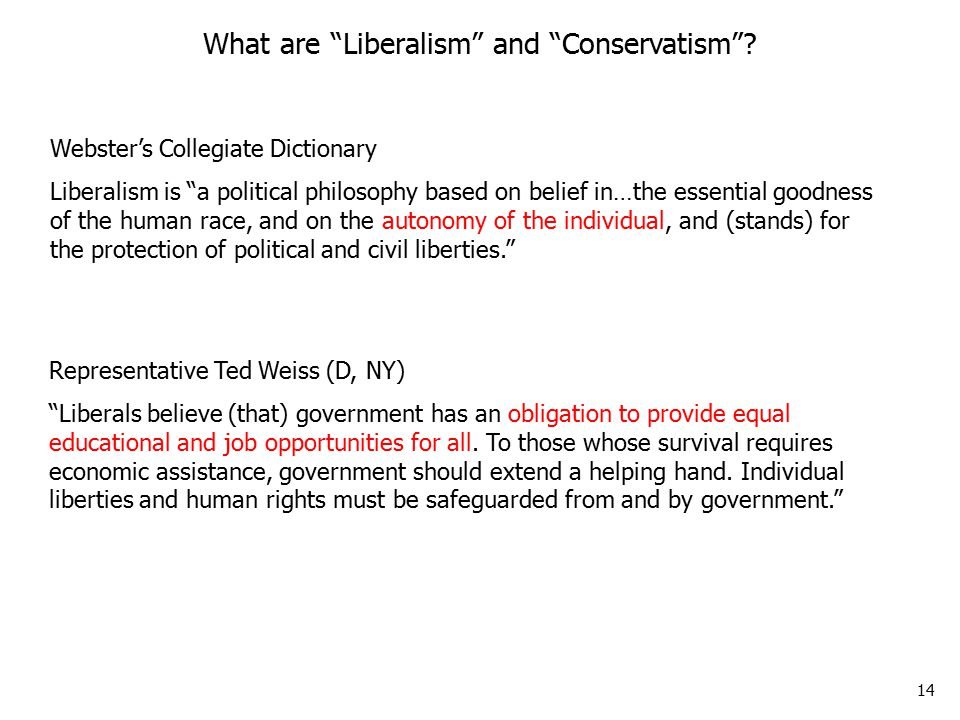 14 Representative Ted Weiss (D, NY) Liberals believe (that) government has an obligation to provide equal educational and job opportunities for all.
