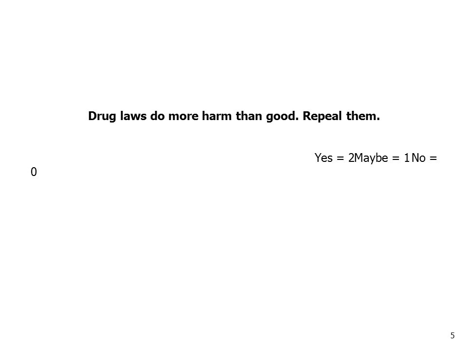 5 Drug laws do more harm than good. Repeal them. Yes = 2Maybe = 1No = 0