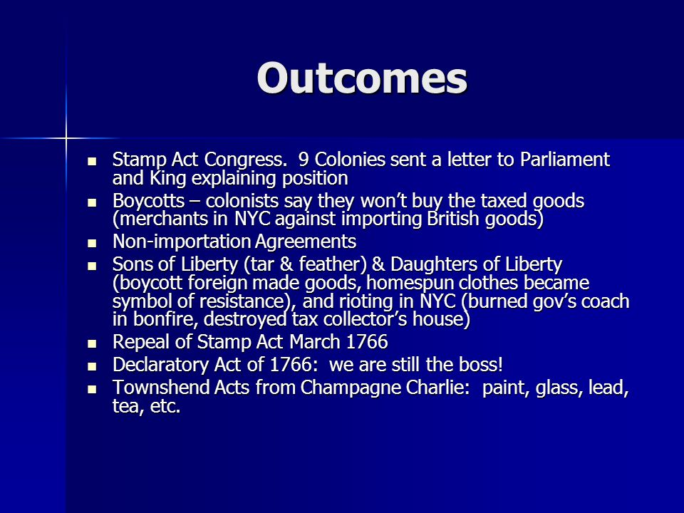 Outcomes Stamp Act Congress.