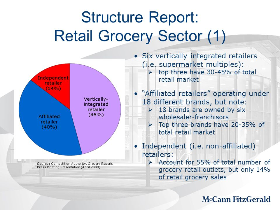 Structure Report: Retail Grocery Sector (1) Six vertically-integrated retailers (i.e.
