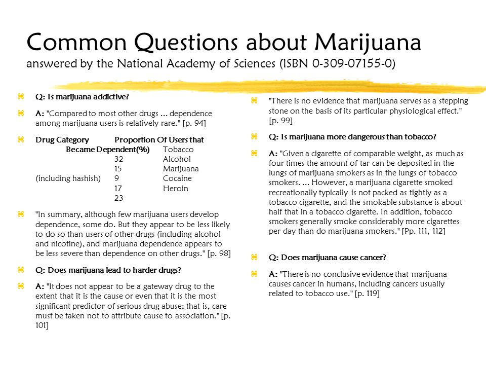 Common Questions about Marijuana answered by the National Academy of Sciences (ISBN 0-309-07155-0) zQ: Is marijuana addictive.