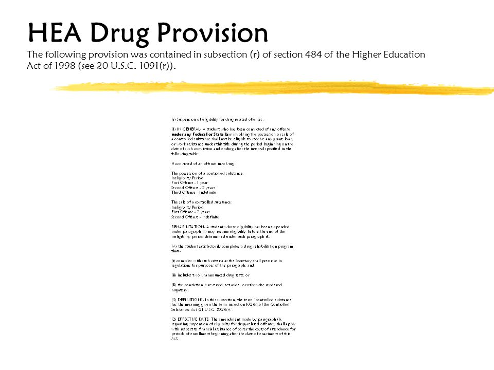 HEA Drug Provision The following provision was contained in subsection (r) of section 484 of the Higher Education Act of 1998 (see 20 U.S.C.