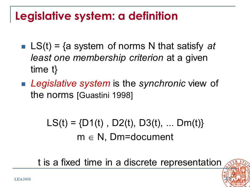 11 LEA2005 Legislative system: a definition LS(t) = {a system of norms N that satisfy at least one membership criterion at a given time t} Legislative system is the synchronic view of the norms [Guastini 1998] LS(t) = {D1(t), D2(t), D3(t),...