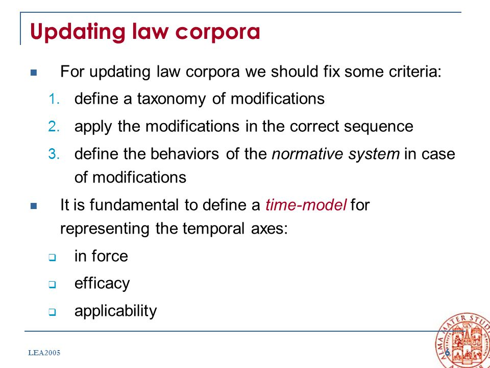 6 LEA2005 Updating law corpora For updating law corpora we should fix some criteria: 1. define a taxonomy of modifications 2. apply the modifications