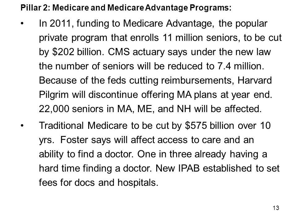 13 Pillar 2: Medicare and Medicare Advantage Programs: In 2011, funding to Medicare Advantage, the popular private program that enrolls 11 million seniors, to be cut by $202 billion.