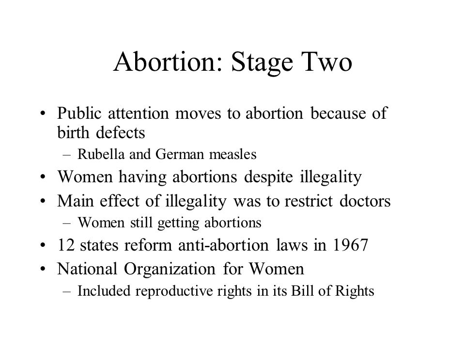 Abortion: Stage Two Public attention moves to abortion because of birth defects –Rubella and German measles Women having abortions despite illegality Main effect of illegality was to restrict doctors –Women still getting abortions 12 states reform anti-abortion laws in 1967 National Organization for Women –Included reproductive rights in its Bill of Rights