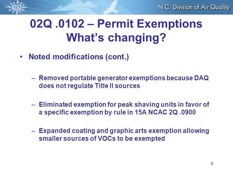 02Q.0102 – Permit Exemptions What's changing.