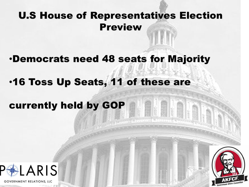 U.S House of Representatives Election Preview Democrats need 48 seats for Majority Democrats need 48 seats for Majority 16 Toss Up Seats, 11 of these are currently held by GOP 16 Toss Up Seats, 11 of these are currently held by GOP