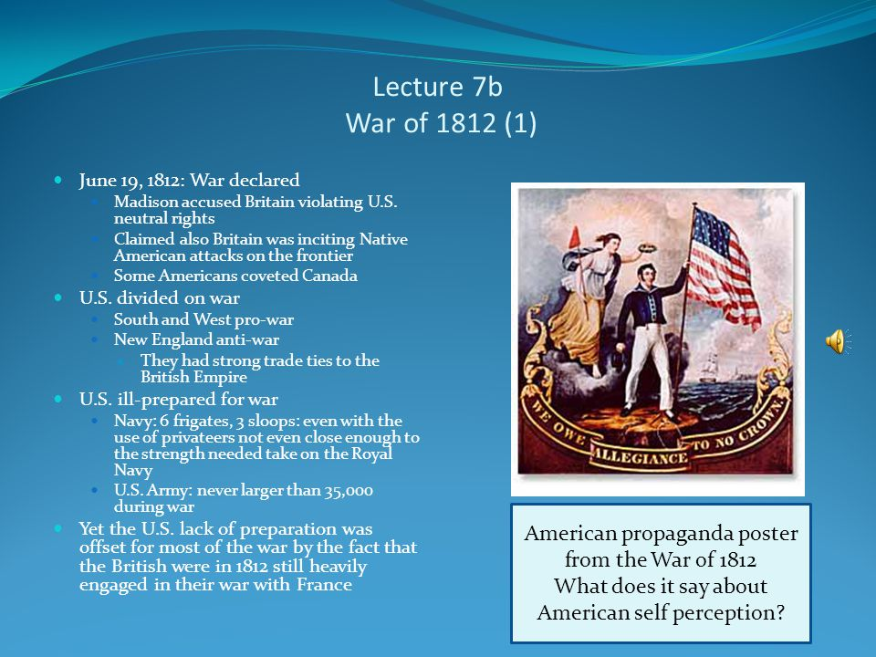 Lecture 7b Origins of the War of 1812 James Madison succeeded Jefferson as president in March 1809 Jefferson left the presidency unpopular because of his harsh and unsuccessful policies to end impressment Madison also failed to end impressment Non-Intercourse Act (1809) Macon's Bill No.