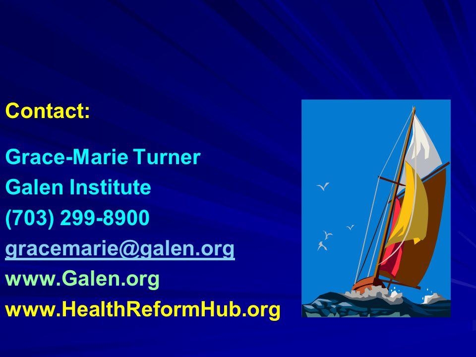 Contact: Grace-Marie Turner Galen Institute (703) 299-8900 gracemarie@galen.org www.Galen.org www.HealthReformHub.org