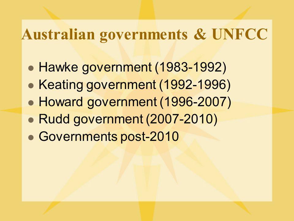 Australian governments & UNFCC Hawke government (1983-1992) Keating government (1992-1996) Howard government (1996-2007) Rudd government (2007-2010) G