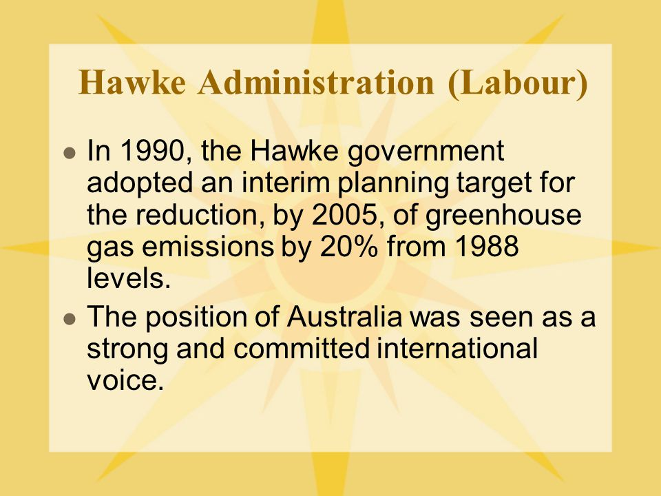 Hawke Administration (Labour) In 1990, the Hawke government adopted an interim planning target for the reduction, by 2005, of greenhouse gas emissions