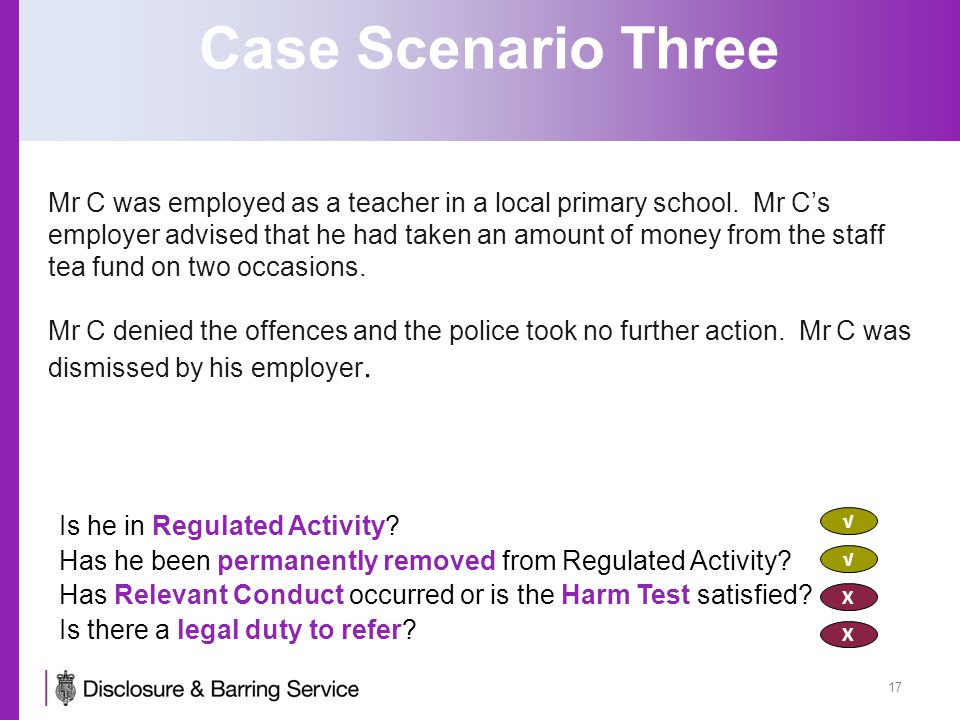 Case Scenario Three Mr C was employed as a teacher in a local primary school. Mr C's employer advised that he had taken an amount of money from the st