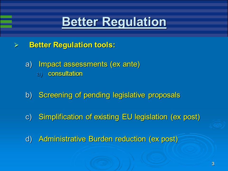 3 Better Regulation  Better Regulation tools: a)Impact assessments (ex ante) a)consultation b)Screening of pending legislative proposals c)Simplification of existing EU legislation (ex post) d)Administrative Burden reduction (ex post)