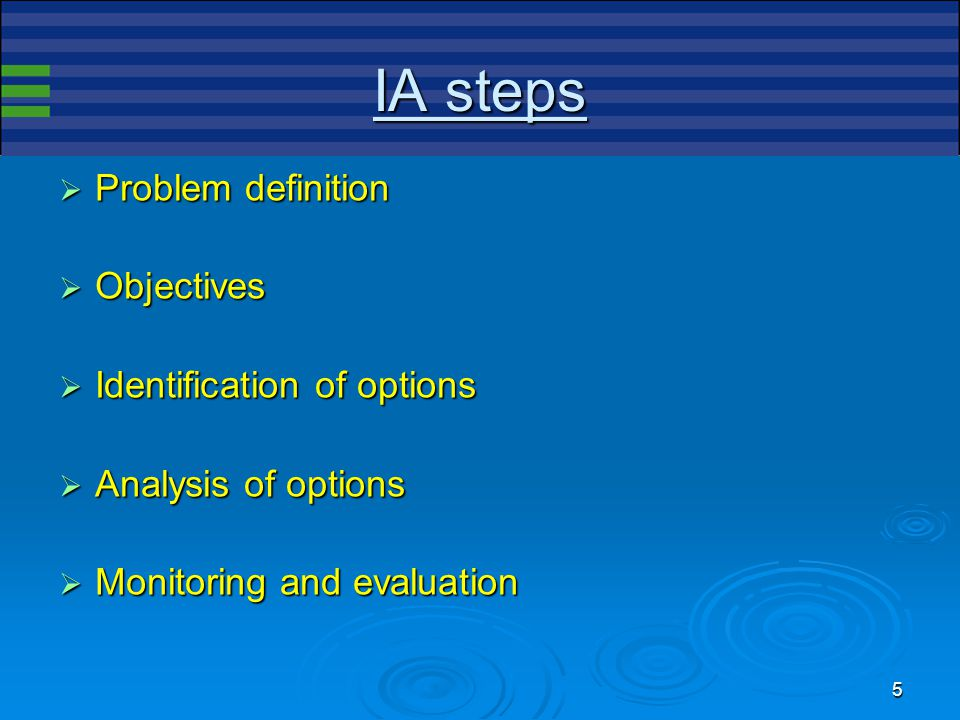 5 IA steps  Problem definition  Objectives  Identification of options  Analysis of options  Monitoring and evaluation