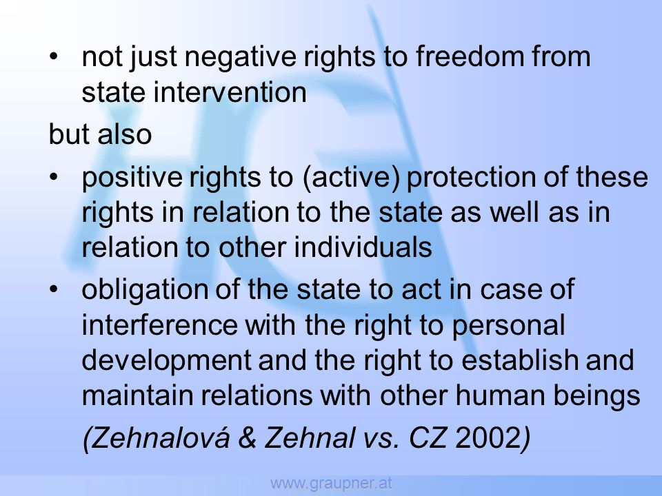 www.graupner.at not just negative rights to freedom from state intervention but also positive rights to (active) protection of these rights in relatio