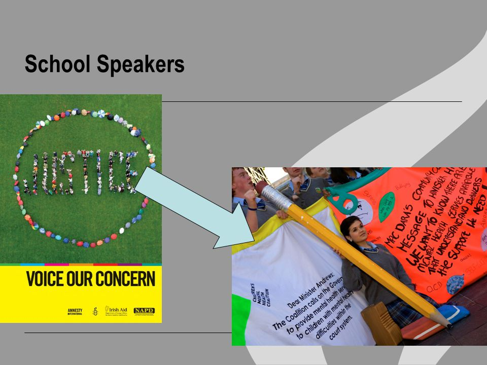 The School Speaker Programme PRIMARY AIM  To establish and support school groups that will be active in Amnesty International's campaigns SECONDARY AIM  To bring information about human rights to a broader group of people