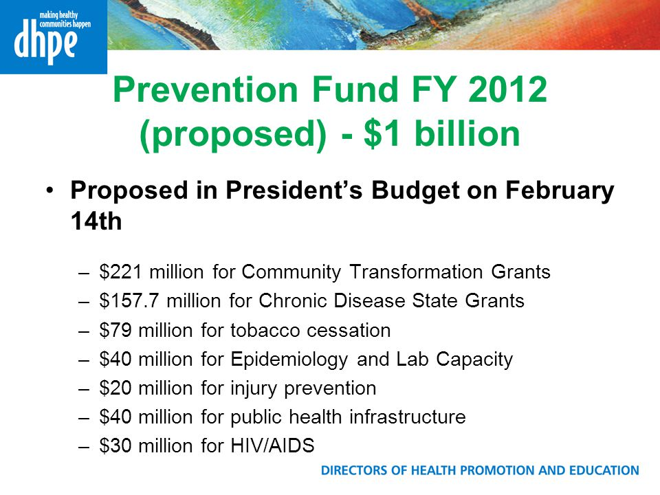 Prevention Fund FY 2012 (proposed) - $1 billion Proposed in President's Budget on February 14th –$221 million for Community Transformation Grants –$157.7 million for Chronic Disease State Grants –$79 million for tobacco cessation –$40 million for Epidemiology and Lab Capacity –$20 million for injury prevention –$40 million for public health infrastructure –$30 million for HIV/AIDS