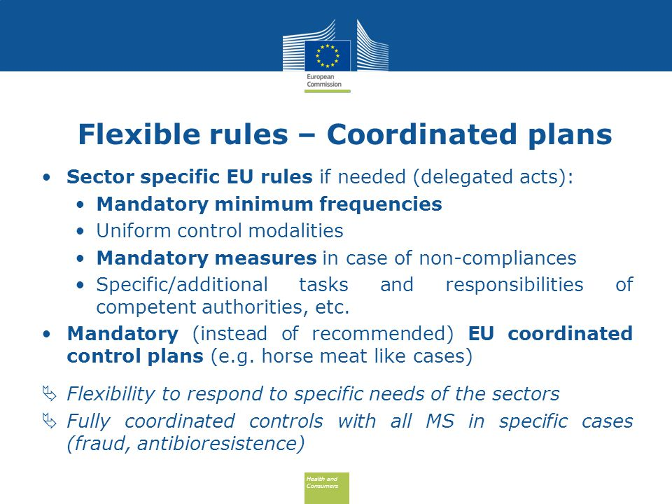 Health and Consumers Health and Consumers Flexible rules – Coordinated plans Sector specific EU rules if needed (delegated acts): Mandatory minimum frequencies Uniform control modalities Mandatory measures in case of non-compliances Specific/additional tasks and responsibilities of competent authorities, etc.