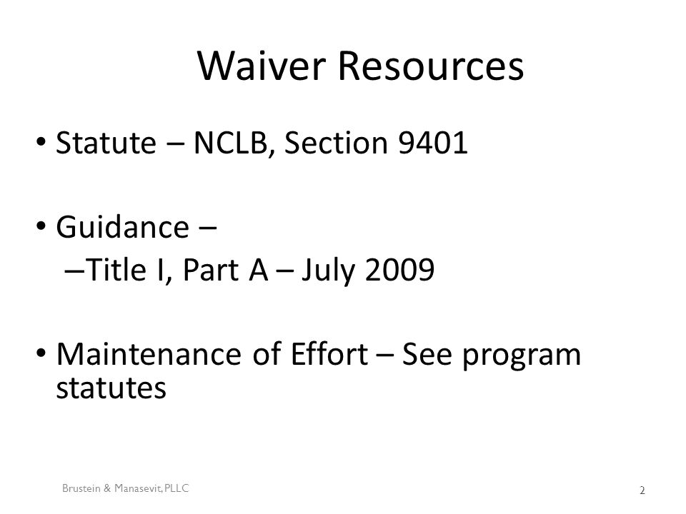 NCLB – What can be waived.