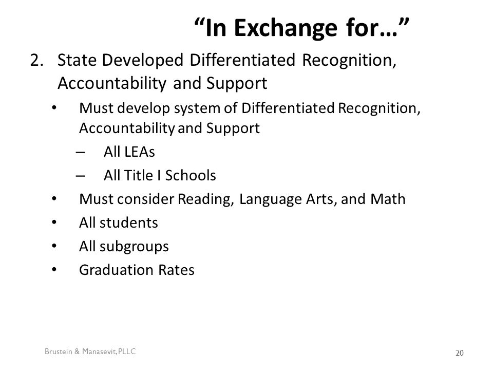 In Exchange for… 2.State Developed Differentiated Recognition, Accountability and Support Must develop system of Differentiated Recognition, Accountability and Support – All LEAs – All Title I Schools Must consider Reading, Language Arts, and Math All students All subgroups Graduation Rates Brustein & Manasevit, PLLC 20