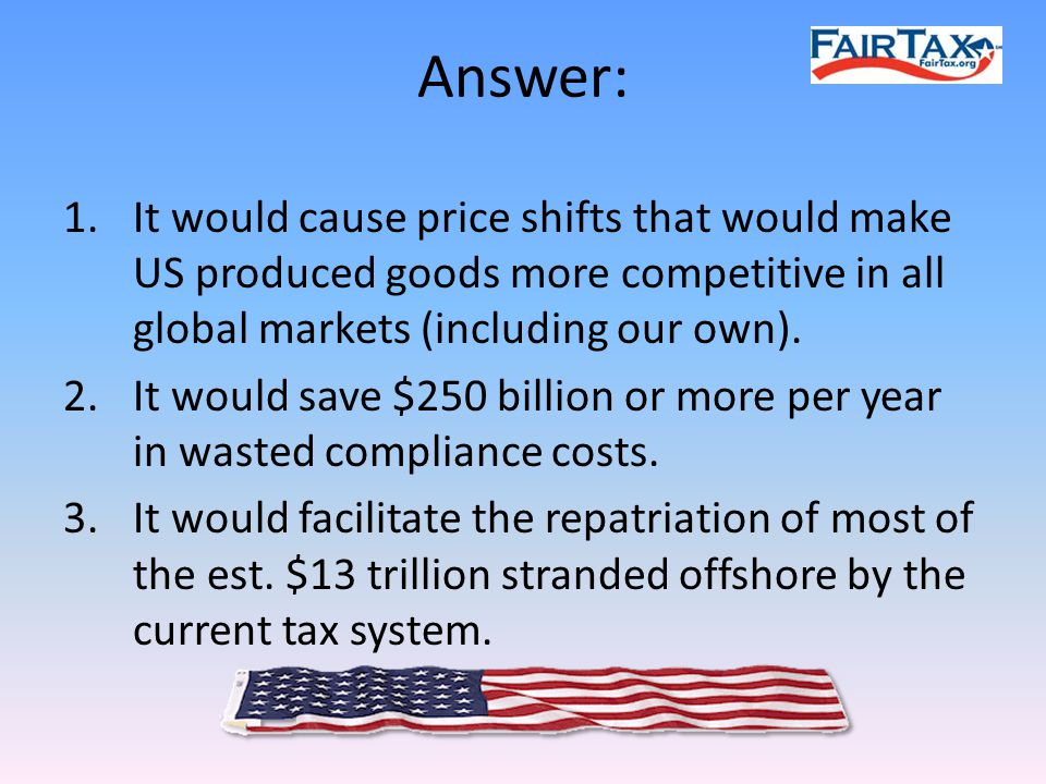 Answer: 1.It would cause price shifts that would make US produced goods more competitive in all global markets (including our own).