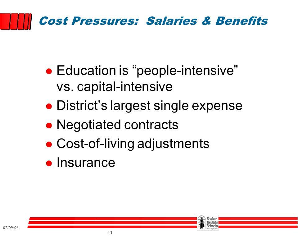 02/09/06 13 Cost Pressures: Salaries & Benefits l Education is people-intensive vs.