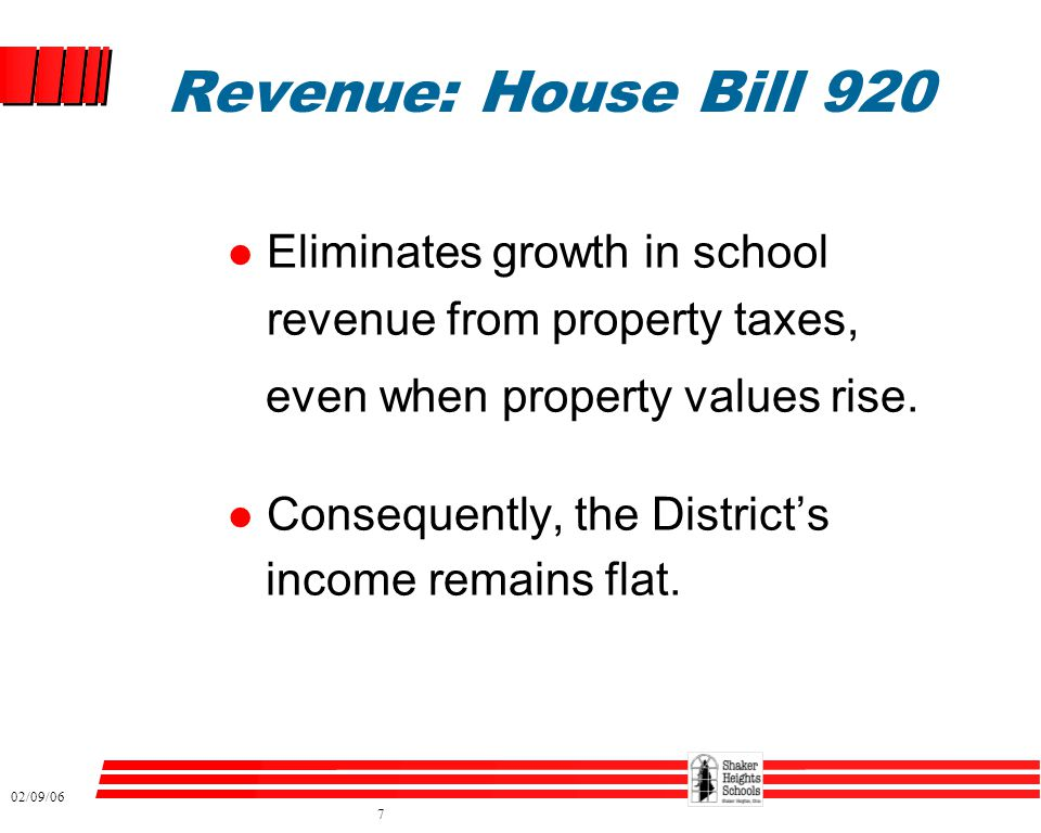 02/09/06 7 Revenue: House Bill 920 l Eliminates growth in school revenue from property taxes, even when property values rise. l Consequently, the Dist