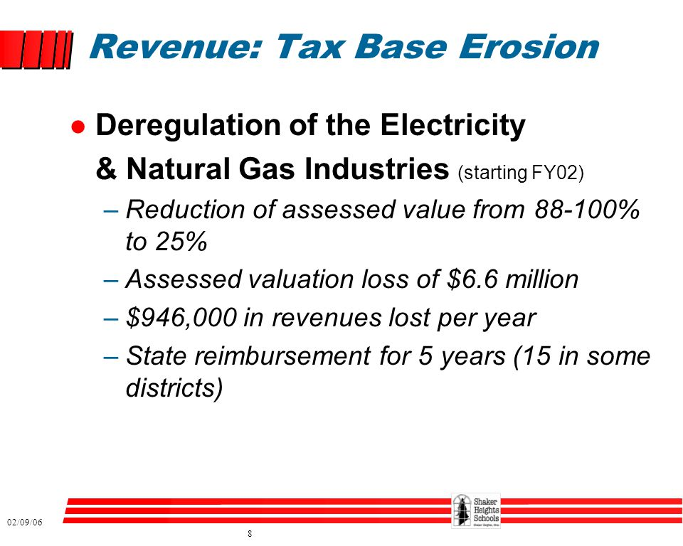 02/09/06 8 Revenue: Tax Base Erosion l Deregulation of the Electricity & Natural Gas Industries (starting FY02) –Reduction of assessed value from 88-1