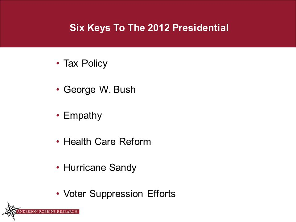 Six Keys To The 2012 Presidential Tax Policy George W.