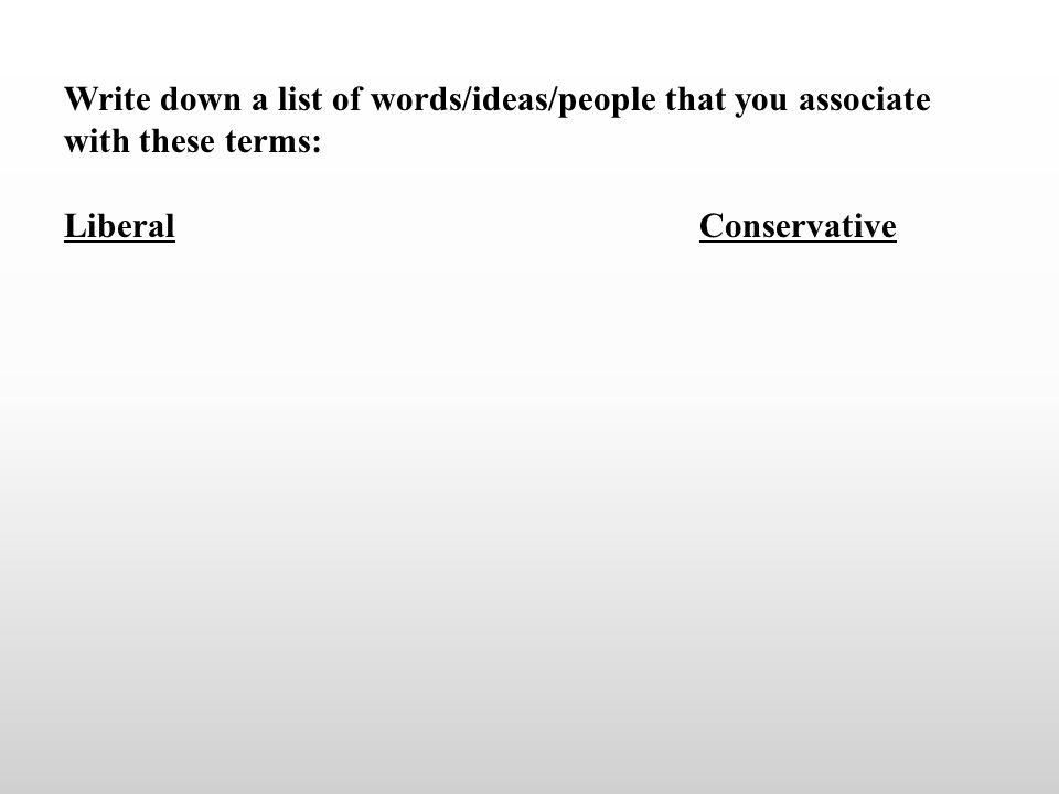 Write down a list of words/ideas/people that you associate with these terms: LiberalConservative