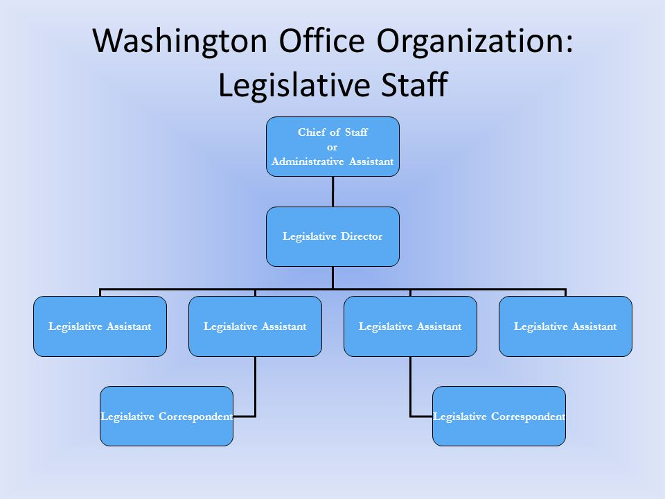 Washington Office Organization: Legislative Staff Chief of Staff or Administrative Assistant Legislative Director Legislative Assistant Legislative Correspondent Legislative Assistant