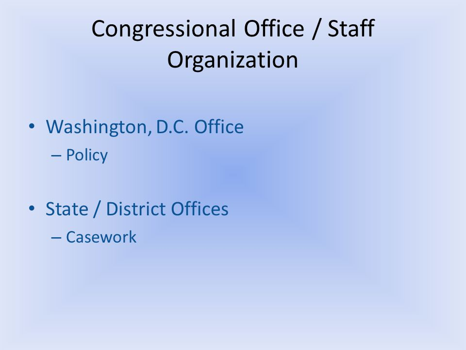 Congressional Office / Staff Organization Washington, D.C.