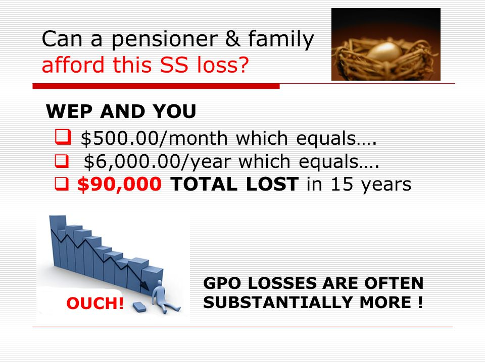 Can a pensioner & family afford this SS loss.  $500.00/month which equals….